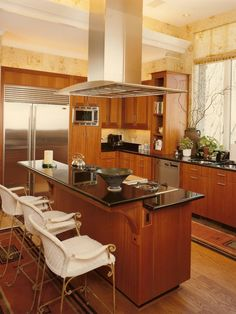 On Awesome Design Kitchen With Classic Style Complete Accessories And Furniture Ideas Beautiful Modern Kitchen Design With Wooden Cabinetry And Metal Refrigerator Patterned Wallpaper Design Prairie Style Contemporary