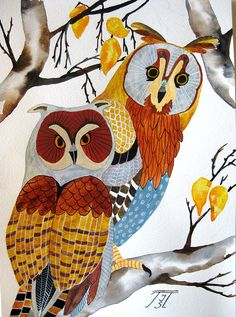 'Two Owls' by aquarelle788