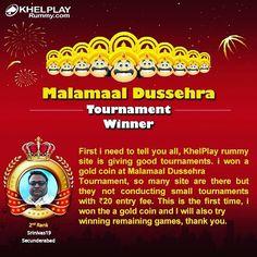 Congratulations! To Srinivas from #Secunderabad on Winning Malamaal Dussehra Tiurnament @ KhelPlayRummy.com! #playrummy #rummyonline #khelplayrummy #winner #playnow