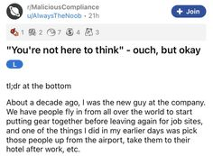 """If you ever have a boss who rudely insists that you """"don't think"""" while you're in the driver's seat, you certainly have the opportunity to serve up a whopping plate of malicious compliance. #gps #story #boss #dumb #mistake #lol People Fly, Entertainment Sites, Funny Stories, Listening To You, Karma, Fails, Boss, Job Work, Opportunity"""