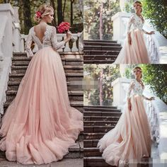 Western Country Garden Long Sleeves Wedding Dresses Backless Deep V Neck Lace Blush Tulle Chapel Train A-Line 2016 Plus Size Bridal Gowns Wedding Dresses Beach Bridal Gowns Garden Vintage Wedding Gown Online with 147.0/Piece on Magicdress2011's Store | DHgate.com