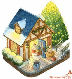 Illustration Noel, Cute Animal Illustration, Kawaii Illustration, Character Illustration, Watercolor Illustration, Kawaii Drawings, Cute Drawings, Bear Paintings, Bear Drawing