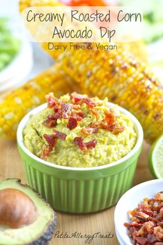 Roasted Corn Avocado Dip| PetiteAllergyTreats Delicious dairy free dip from corn and avocado #glutenfree, #dairyfree, #Vegan, #dip, #avocado...