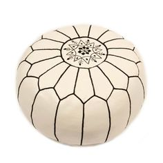 In Morocco, the art of creating the pouf has been passed from generation to generation. Using these time-honored skills, master artisans take up to 40 hours to create each one. A beautiful blend of for...  Find the Black & White Moroccan Pouf, as seen in the The Glamorous Globetrotter Collection at http://dotandbo.com/collections/the-glamorous-globetrotter?utm_source=pinterest&utm_medium=organic&db_sku=CAS0010