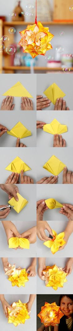 Origami is a fun activity which all ages can do. For kids, this activity is like playing. On the other hand, for the adults, making origami can be used as an ice-breaker or stress reliever after working hard. There are plenty of origami patterns which. Origami Diy, Origami And Kirigami, Origami Tutorial, Origami Paper, Oragami, Origami Ball, Origami Wedding, Hanging Origami, Origami Lantern