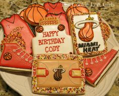 Miami Heat basketball cookies!!!  See more of our creations at www.facebook.com/thecookieloftgirls!! Cookie Cottage, Basketball Cookies, Miami Heat Basketball, Bring The Heat, 35th Birthday, Cookie Decorating, Decorated Cookies, Biscuits, Sweets