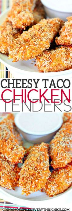 Cheesy Taco Chicken Tenders - Crunchy, baked chicken tenders coated in taco-spiced cheddar panko crumbs with a homemade ranch dressing for dipping. Chicken tenders grown-ups and kids alike will love. Turkey Recipes, Mexican Food Recipes, Chicken Recipes, Snack Recipes, Cooking Recipes, Turkey Dishes, Healthy Recipes, Baked Chicken Tenders, Taco Chicken