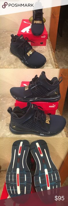 Women Puma Ignite limitless  Peacot Navy From that  ♀️Athletic Woman to high Fashion street  Wear this shoe. Is everything . Premium cushion & ignite foam embedded in the midsole . Metallic detailing and Puma branding . Easy pull on style , lace up  & elastic band at top . sooo cute looks like a bootie in a sporty way Puma Shoes Sneakers