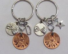 Big sis lil sis, sisters key chain set, hand stamped, pinky swear, personalized, lucky penny, big sister little sister, initial key chain by maggiemaybecrafty. Explore more products on http://maggiemaybecrafty.etsy.com