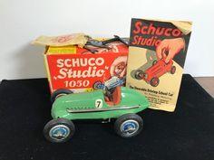 SCHUCO US ZONE Germany STUDIO 1050 Wind Up MERCEDES RACER in Box w/ parts #Schco