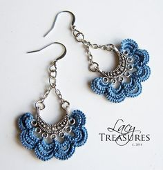 Ruffle Silver Copper Earrings . LACE . Color di LacyTreasures