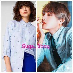 Buy Bts V Kim Taehyung inspired shirt on Myntra #bts #bangtan #kpop #kimtaehyung #taetae #taehyung #v #sexy #fashion Casual Shirts, Blue And White, India, Fitness, Stuff To Buy, Shopping, Women, Style, Spirit