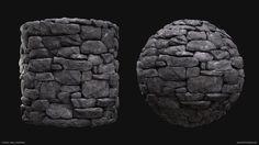 Stone Wall Material, Joakim Stigsson on ArtStation at https://www.artstation.com/artwork/q29YN