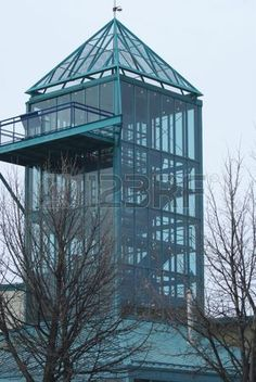 Glass observation tower at the Forks in Winnipeg.  The forks..