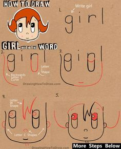 how to draw a cartoon girl from the word girl simple step by step drawing lesson - Easy Drawing Pictures For Kids