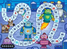 """Free Robot Birthday Party Printables for you to print out and create a fun and amazing robot world for your kid's birthday! We have Robot Birthday Party Food Ideas and Decoration ideas. Robot snacks like """"Metal"""", """"Robot Fuel"""", """"Computer Chips"""" and more. Printable Mazes, Printable Board Games, Party Printables, Board Game Themes, Board Games For Kids, Coloring Games For Kids, Board Game Template, Robot Theme, Kindergarten Games"""