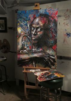 Painting of Miles Davis by Tom Noll Miles Davis, Jazz, Vibrant Colors, Toms, Abstract, Music, Artist, Projects, Painting