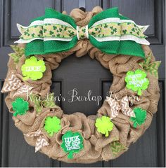 **READY TO SHIP** This wreath is made and ready to go in 1-2 business days!  Another cute one of a kind St. Patricks Day wreath! Made from