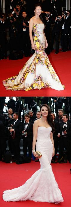 Fabulously Spotted: Zhang Yuqi Wearing Monique Lhuillier & Roberto Cavalli - 2013 Cannes Film Festival Premieres - http://www.becauseiamfabulous.com/2013/05/zhang-yuqi-wearing-monique-lhuillier-roberto-cavalli-2013-cannes-film-festival-premieres/