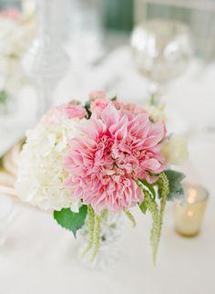 Pastel dahlia centerpiece {Photo by Lane Dittoe via Project Wedding}