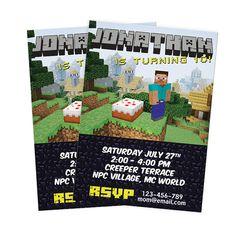 DIY Minecraft Birthday Invitation  Digital You by starprintables, $7.99
