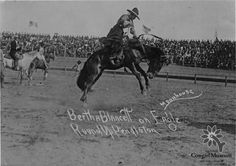 Photo of Cowgirl Hall of Fame Honoree, Bertha Blancett, riding a bronc in Pendleton, Oregon taken in 1914.  Permanent Collection of the National Cowgirl Museum and Hall of Fame