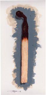 Massimo Capogna - Artist:  Fiammifero.  Acquerello al caffè con penne staedt...