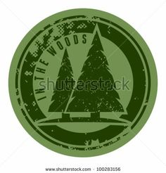 Abstract green grunge camping stamp with firs and the words In the woods written inside. Badges and labels. by VoodooDot, via Shutterstock