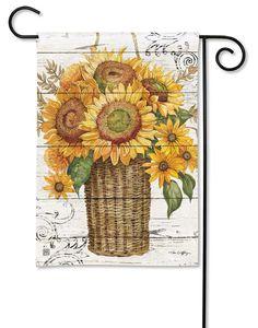 Farmhouse Sunflower House Flag - x - BreezeArt Sunflower House, Sunflower Garden, Sunflower Design, Yellow Sunflower, Fall Garden Flag, Garden Flag Stand, Autumn Garden, Yard Flags