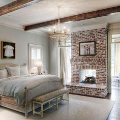 Brick fireplace and light blue