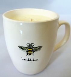 "1.5 lb.Honey Bee Mug Soy Candle ""Bee My Honey"" a wild mountain honey scent. Free shipping in the U.S.A. San Diego Soy Candle.  sdsoycandle.com"