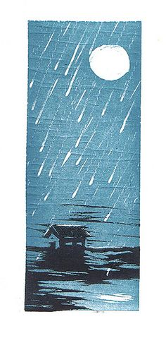 Rainy Night by Notorious Rooster. Reduction Woodcut