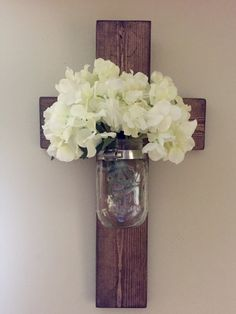 Rustic Mason Jar Cross, Wooden Cross, Pallet Wood Cross, Hanging Cross, Farmhouse Decor, Rustic Decor by HammelDesigns on Etsy