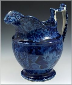 19thC Historical Blue Staffordshire Jug w/ LaFayette at Franklin's Tomb