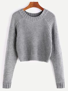 Grey Raglan Sleeve Crop Sweater
