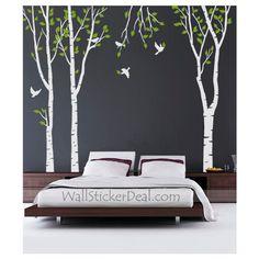 3 Green Tree Forest With Birds Wall Sticker – WallStickerDeal.com via Polyvore