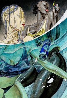 Fire Art, Pulp Art, Horror Art, Pretty Art, Community Art, Manga Art, Art Sketches, Collage Art, Art Inspo