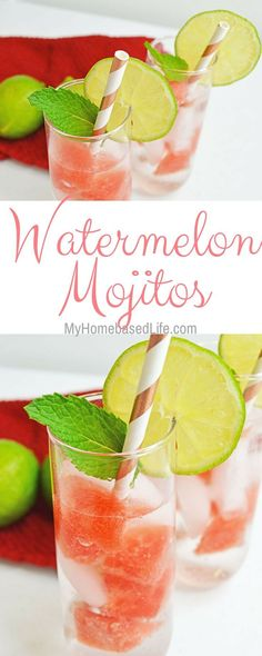 Rethink your girl's nights and start having fun right at home! These Watermelon Mojito cocktails are perfect for get-togethers. #cocktail #mixeddrinks #mojitos | Cocktail Recipes | Mojito Recipes | Summer Drinks | Girls Night | via @myhomebasedlife