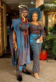 African Traditional Wedding Aso Oke Complete Set For Couple (Bride & Groom) African Wedding Attire, African Attire, African Fashion Dresses, African Wear, African Dress, African Love, African Style, African Traditional Wedding Dress, Traditional Wedding Attire