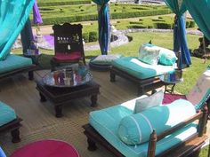 Outdoor Area with Bright Blue and Pink Accents