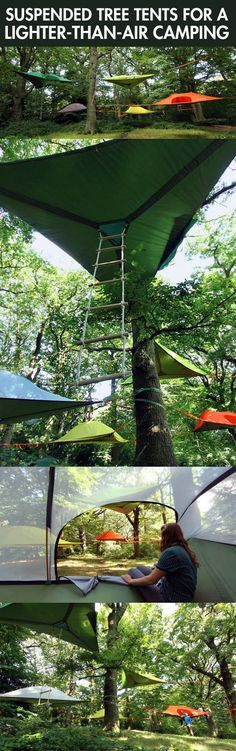 Tree tents…it must be.... in-tense?! Hahahorf. But seriously, i would be paranoid of the bottom tearing in the middle of the night (Camping Hacks Tarp)