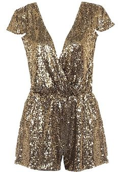 Sparkle Box Romper: Features a gorgeous surplice bodice framed by cute cap sleeves, elasticized waist for a custom fit, glittering gold sequin foundation, and adorable romper shorts to finish.