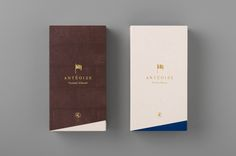 Packaging with gold foil detail for Anténor's creme dacquoise range Antéoise designed by UMA