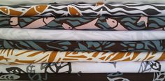 African Vibrations is a range of fabrics based on hand cut Lino-Cuts by various artists