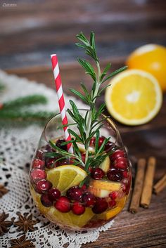 Winter wedding cocktail idea - winter sangria with fun red + white straw {Courtesy of Cooking Catrin} Winter Sangria, Winter Cocktails, Cranberry Sangria, Christmas Sangria, Summer Drinks, Fun Drinks, Vegetable Drinks, Refreshing Drinks, Food And Drink