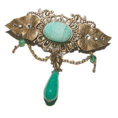 Barrette elfique en métal bronze, amazonite, jade verte, agate mousse et cristal de Swarovski