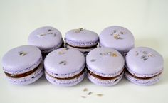 Lavender macarons with chocolate ganache Lavender Macarons, Ganache Recipe, Cake Central, Edible Art, Chocolate Ganache, Culinary Arts, Cake Creations, Macaroons, Cakes And More