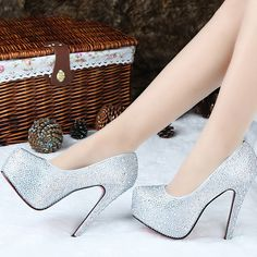 75.00$  Buy now - http://ali3lp.worldwells.pw/go.php?t=1084238936 - Fashion 14cm ultra high heels closed toe rhinestone super high platform stiletto sandals female gold silver wedding shoes 75.00$