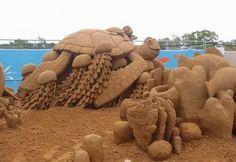 sculpture sur sable tortue des mer !!!!