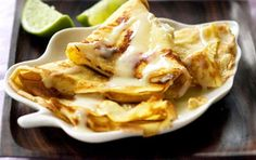 Thai banana pancakes with condensed milk